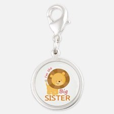 Big Sister Cute Lion Silver Round Charm