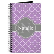 Lilac Purple Trellis Pattern Gray Monogram Journal
