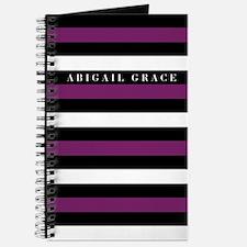 Black Purple White Bold Striped Pattern Journal
