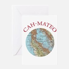 Soviet Map of San Mateo Greeting Cards