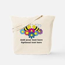 Bees & Flowers Design Illustration Tote Bag