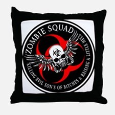 Zombie Squad 3 Ring Patch Revised.png Throw Pillow