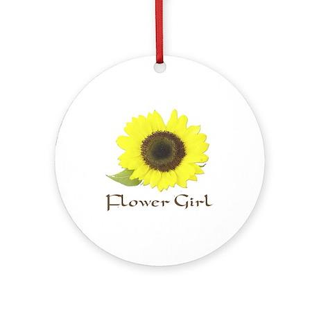 Sunflower Flower Girl Ornament (Round)