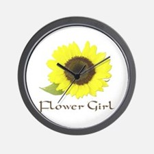 Sunflower Flower Girl Wall Clock
