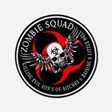 """Zombie Squad 3 Ring Patch Revised.png 3.5"""" Button"""