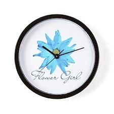 Blue Daisy Flower Girl Wall Clock