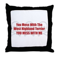 Mess With Westy Throw Pillow