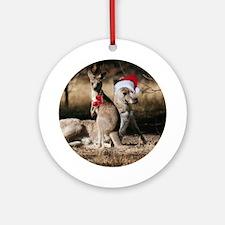 Santa's Australian Kangaroos Round Ornament
