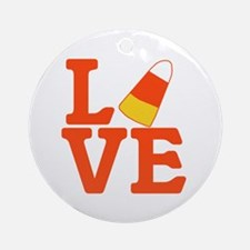 Halloween Love Candy Corn Ornament (Round)