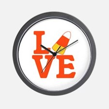 Halloween Love Candy Corn Wall Clock