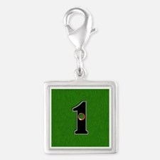 Lucky Golf Hole in One Silver Square Charm