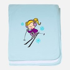 Girl Skiing baby blanket