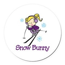 Snow Bunny Round Car Magnet