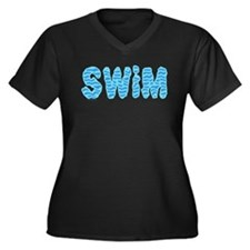 Wavy Swim Women's Plus Size V-Neck Dark T-Shirt