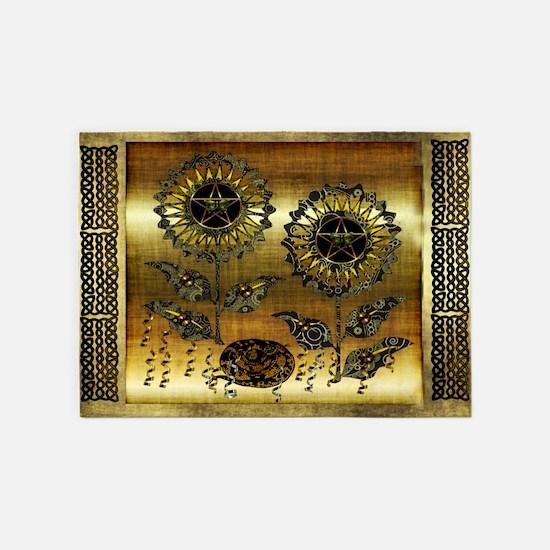 Gold Paisley Pagan World 5'x7'Area Rug