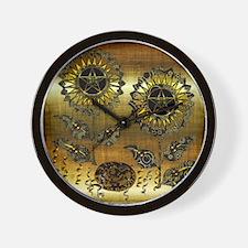 Gold Paisley Pagan World Wall Clock