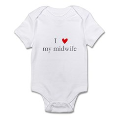 I love (heart) my midwife Infant Bodysuit