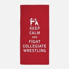 Keep Calm and Fight Collegiate Wrestling Beach Tow