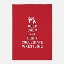 Keep Calm and Fight Collegiate Wrestling 5'x7'Area