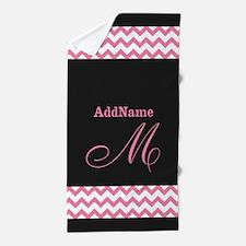 Monogrammed Dark Gray Pink Chevron Beach Towel