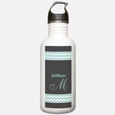 Charcoal Gray and Mint Water Bottle