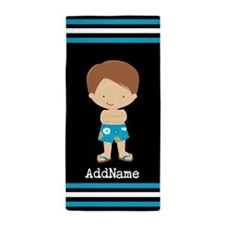 Boys Custom Name Stripes Beach Towel