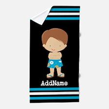 Boys Custom Name Stripes Beach Towel