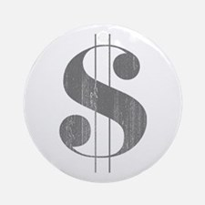 Grungy Dollar Sign in Grey Retro Font Ornament (Ro