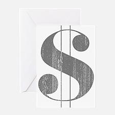 Grungy Dollar Sign in Grey Retro Font Greeting Car