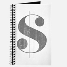 Grungy Dollar Sign in Grey Retro Font Journal