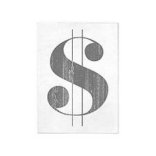 Grungy Dollar Sign in Grey Retro Font 5'x7'Area Ru