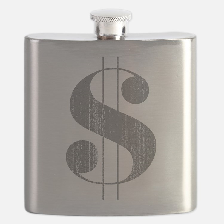 Grungy Dollar Sign in Grey Retro Font Flask