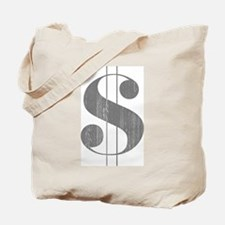 Grungy Dollar Sign in Grey Retro Font Tote Bag