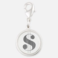 Grungy Dollar Sign in Grey Retro Font Charms