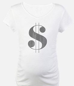 Grungy Dollar Sign in Grey Retro Font Shirt