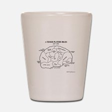 Tennis Players Brain Shot Glass