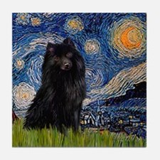 Starry Night Schipperke Tile Coaster