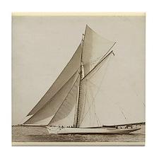 Vintage Sailboat Tile Coaster