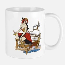 girl pirate with ship Mugs
