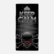 Keep Calm or Die! Black Skull Beach Towel