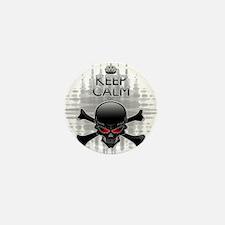 Keep Calm or Die! Black Skull Mini Button (10 pack