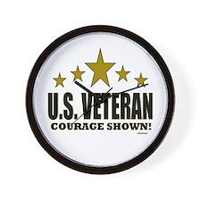 U.S. Veteran Courage Shown Wall Clock