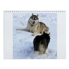 Cute Siberian huskies Wall Calendar