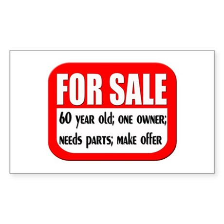For Sale 60th Birthday Rectangle Sticker