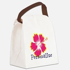 Personalize hibiscus Flower Canvas Lunch Bag