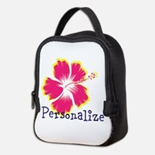 Personalize hibiscus Flower Neoprene Lunch Bag