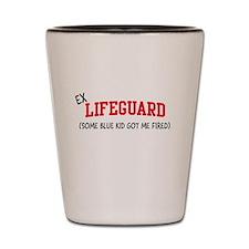 Ex lifeguard blue kid fired Shot Glass