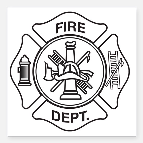 "Fire department symbol Square Car Magnet 3"" x 3"""