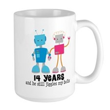 14th Anniversary Retro Robot Couple Mugs