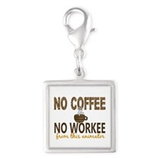Animator No Coffee No Workee Silver Square Charm